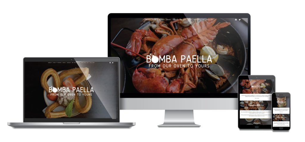 Eat Bomba Paella responsive mockup